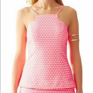 Lilly Pulitzer Hot Pink Geometic Costello Top